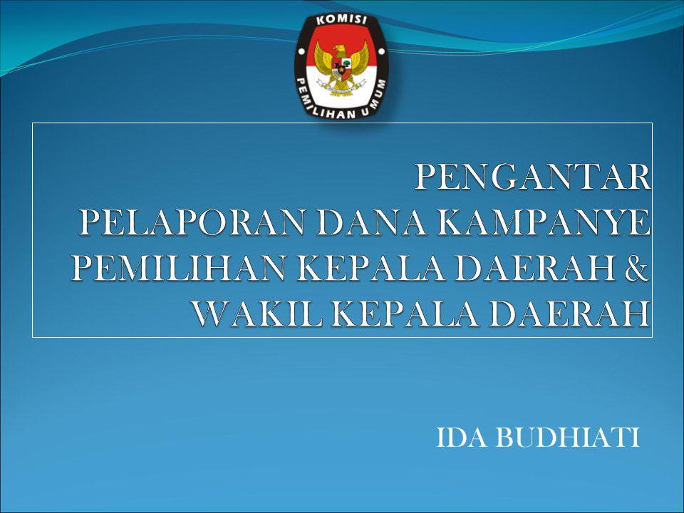KEBIJAKAN KPU DALAM PELAPORAN DANA KAMPANYE  Meningkatkan pelayanan kepada Peserta Pemilihan untuk menyusun laporan dana kampanye yang transparan & akuntabel  Menerbitkan alat bantu dalam format Microsoft Excel untuk memudahkan Peserta Pemilihan menyusun laporan dana kampanye  Kewajiban KPU Prov/KIP Aceh & KPU/KIP Kab/Kota sebagai Penyelenggara Pemilihan untuk membentuk desk layanan laporan dana kampanye dengan SDM yang kapabel  Memberikan pelayanan data & informasi laporan dana kampanye