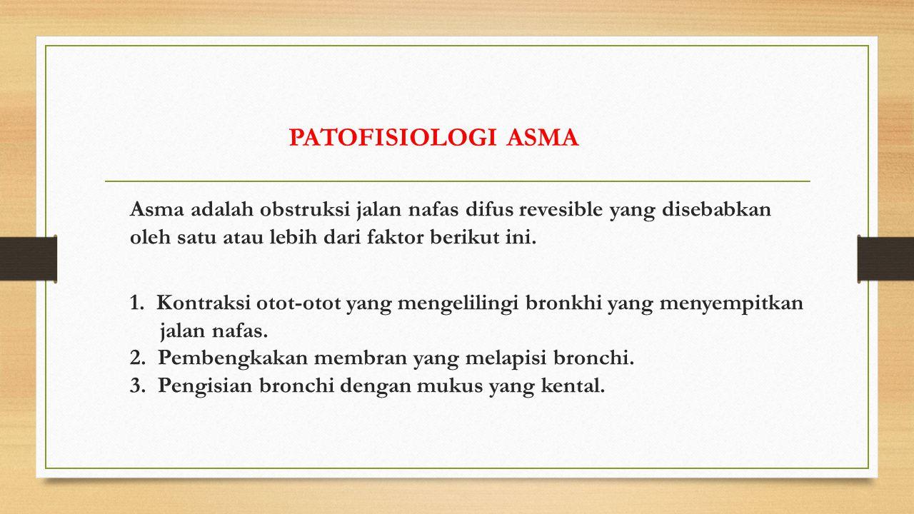 Asma adalah obstruksi jalan nafas difus revesible yang disebabkan oleh satu atau lebih dari faktor berikut ini.