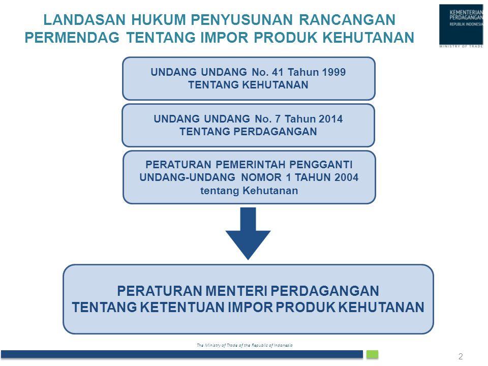 The Ministry of Trade of the Republic of Indonesia LANDASAN HUKUM PENYUSUNAN RANCANGAN PERMENDAG TENTANG IMPOR PRODUK KEHUTANAN 2 UNDANG UNDANG No. 41