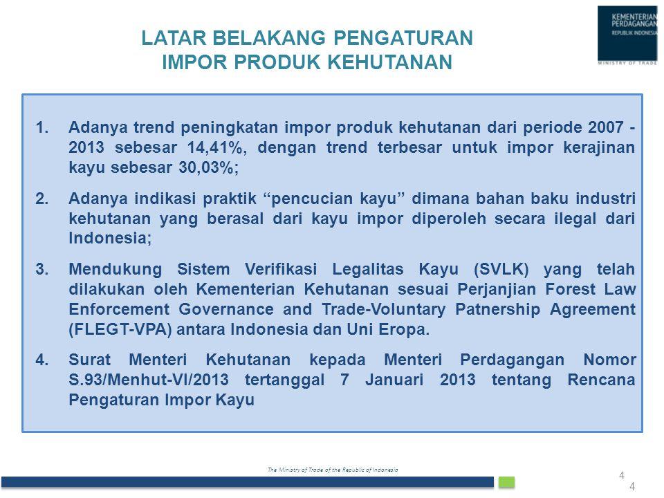 The Ministry of Trade of the Republic of Indonesia 4 1.Adanya trend peningkatan impor produk kehutanan dari periode 2007 - 2013 sebesar 14,41%, dengan