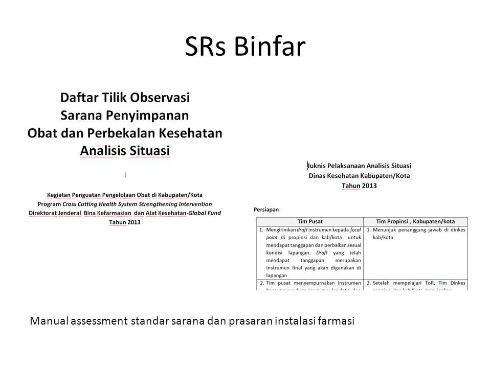 SRs Binfar Manual assessment standar sarana dan prasaran instalasi farmasi