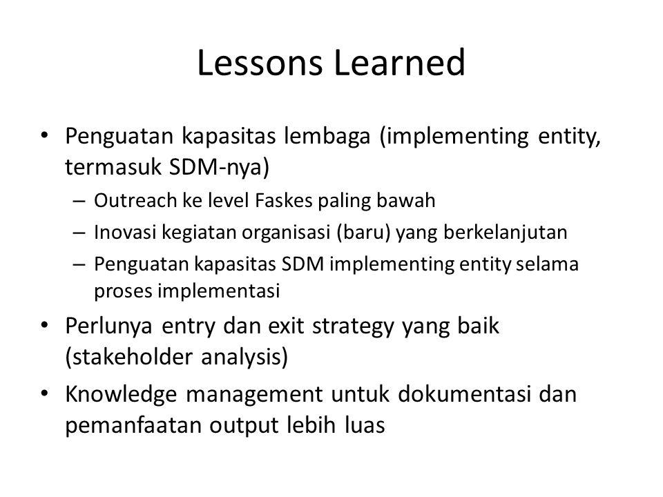 Lessons Learned Penguatan kapasitas lembaga (implementing entity, termasuk SDM-nya) – Outreach ke level Faskes paling bawah – Inovasi kegiatan organis