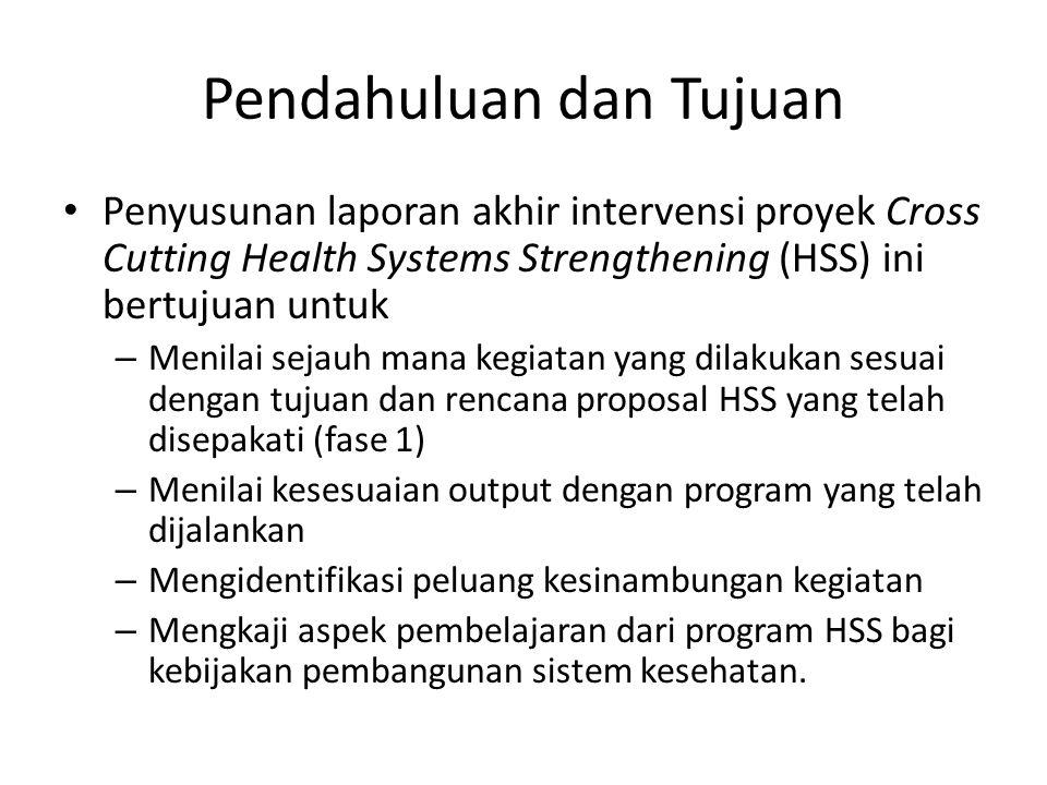 Pendahuluan dan Tujuan Penyusunan laporan akhir intervensi proyek Cross Cutting Health Systems Strengthening (HSS) ini bertujuan untuk – Menilai sejau