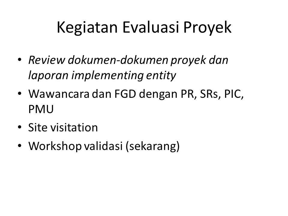 Kegiatan Evaluasi Proyek Review dokumen-dokumen proyek dan laporan implementing entity Wawancara dan FGD dengan PR, SRs, PIC, PMU Site visitation Work