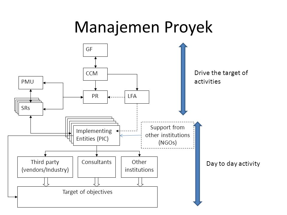 Manajemen Proyek CCM LFAPR PMU SRs Implementing Entities (PIC) GF Third party (vendors/Industry) ConsultantsOther institutions Target of objectives Support from other institutions (NGOs) Drive the target of activities Day to day activity