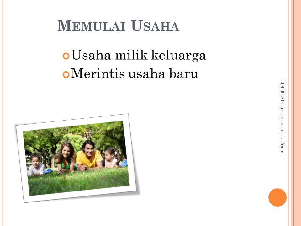 M EMULAI U SAHA Usaha milik keluarga Merintis usaha baru UDINUS Entrepreneurship Center