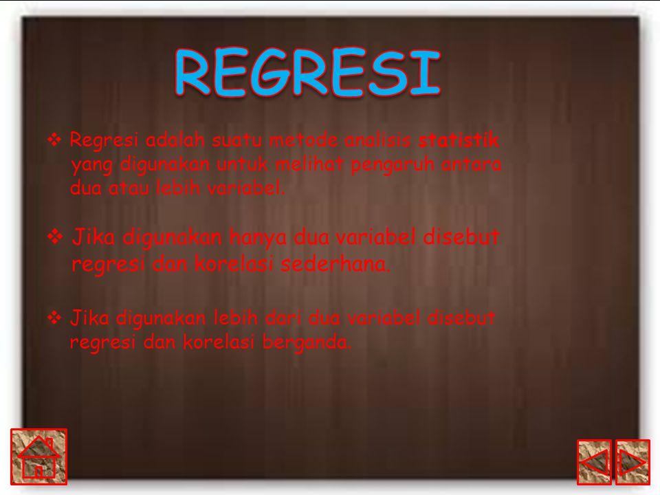  Regresi adalah suatu metode analisis statistik yang digunakan untuk melihat pengaruh antara dua atau lebih variabel.