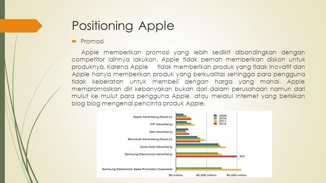 Positioning Apple  Promosi Apple memberikan promosi yang lebih sedikit dibandingkan dengan competitor lainnya lakukan. Apple tidak pernah memberikan