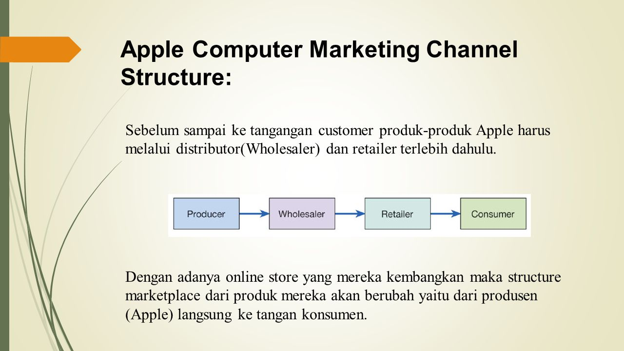 Apple Computer Marketing Channel Structure: Sebelum sampai ke tangangan customer produk-produk Apple harus melalui distributor(Wholesaler) dan retailer terlebih dahulu.
