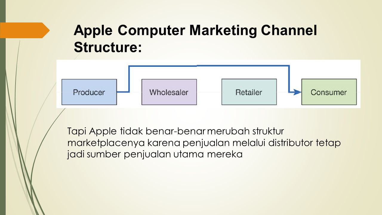 Apple Computer Marketing Channel Structure: Tapi Apple tidak benar-benar merubah struktur marketplacenya karena penjualan melalui distributor tetap jadi sumber penjualan utama mereka