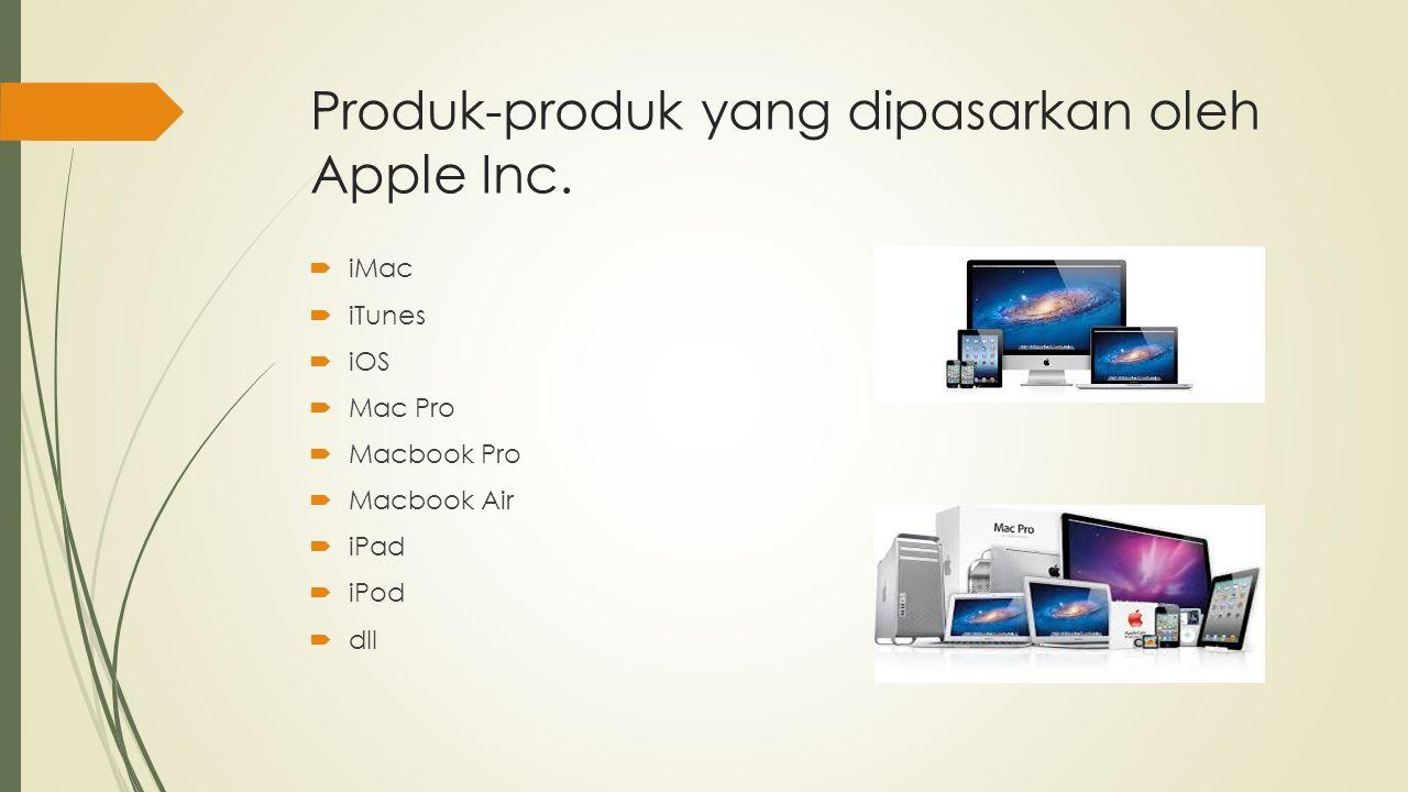 Produk-produk yang dipasarkan oleh Apple Inc.  iMac  iTunes  iOS  Mac Pro  Macbook Pro  Macbook Air  iPad  iPod  dll