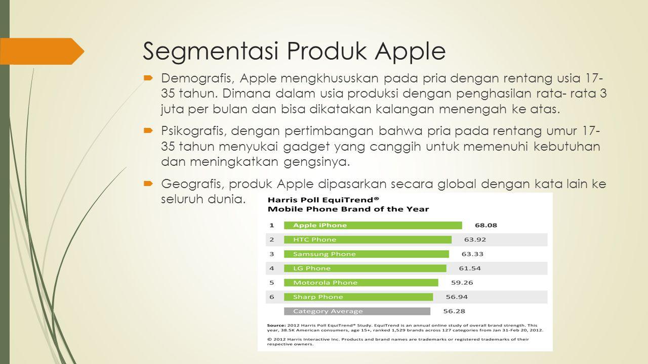 Target Produk Apple Apple menargetkan produknya pada pasar atau orang- orang yang mementingkan gaya, design dan kesederhanaan produk juga kualitas mutu yang bagus.