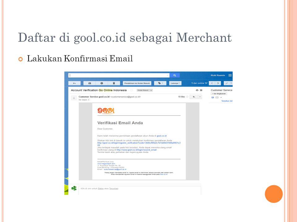 Daftar di gool.co.id sebagai Merchant Lakukan Konfirmasi Email