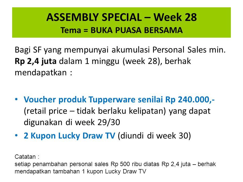 Bagi SF yang mempunyai akumulasi Personal Sales min. Rp 2,4 juta dalam 1 minggu (week 28), berhak mendapatkan : Voucher produk Tupperware senilai Rp 2