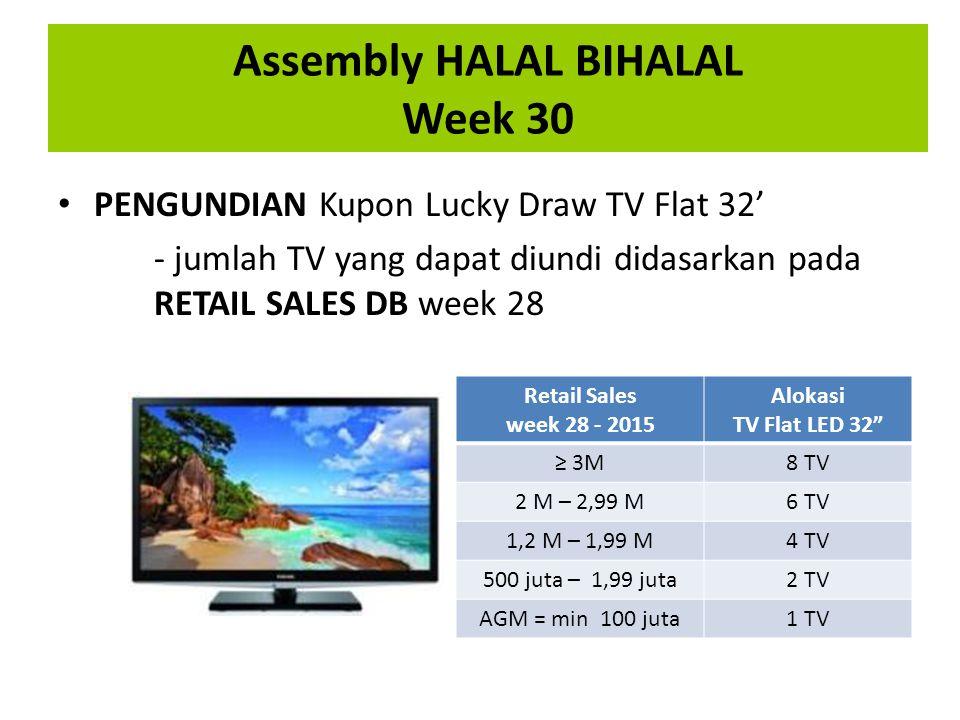 Assembly HALAL BIHALAL Week 30 PENGUNDIAN Kupon Lucky Draw TV Flat 32' - jumlah TV yang dapat diundi didasarkan pada RETAIL SALES DB week 28 Retail Sa