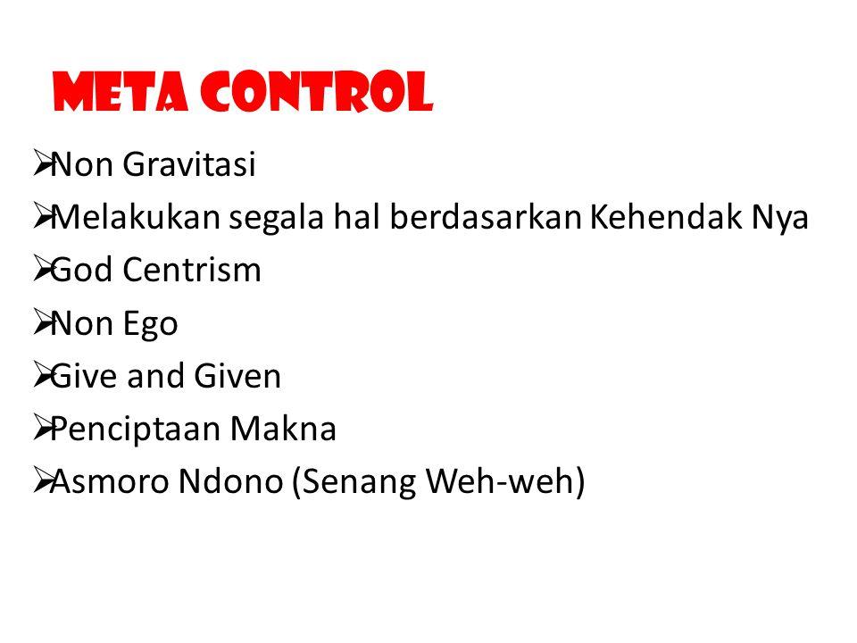 Meta Control  Non Gravitasi  Melakukan segala hal berdasarkan Kehendak Nya  God Centrism  Non Ego  Give and Given  Penciptaan Makna  Asmoro Ndo
