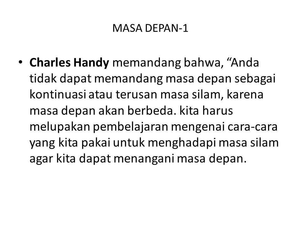 """MASA DEPAN-1 Charles Handy memandang bahwa, """"Anda tidak dapat memandang masa depan sebagai kontinuasi atau terusan masa silam, karena masa depan akan"""