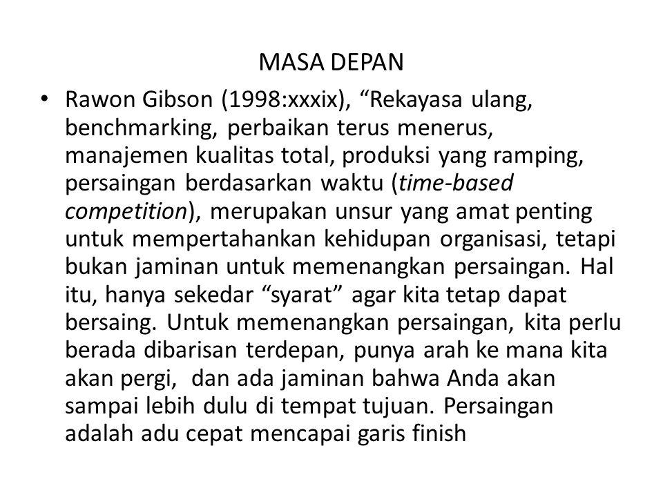 "MASA DEPAN Rawon Gibson (1998:xxxix), ""Rekayasa ulang, benchmarking, perbaikan terus menerus, manajemen kualitas total, produksi yang ramping, persain"