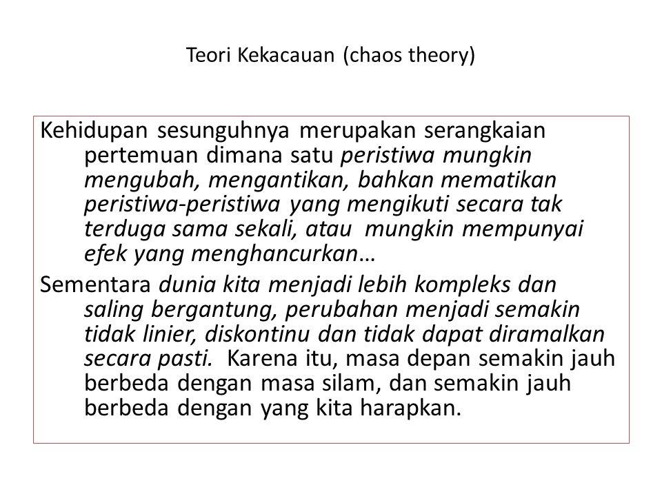 Teori Kekacauan (chaos theory) Kehidupan sesunguhnya merupakan serangkaian pertemuan dimana satu peristiwa mungkin mengubah, mengantikan, bahkan memat