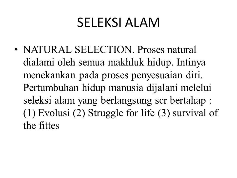 SELEKSI ALAM NATURAL SELECTION. Proses natural dialami oleh semua makhluk hidup. Intinya menekankan pada proses penyesuaian diri. Pertumbuhan hidup ma