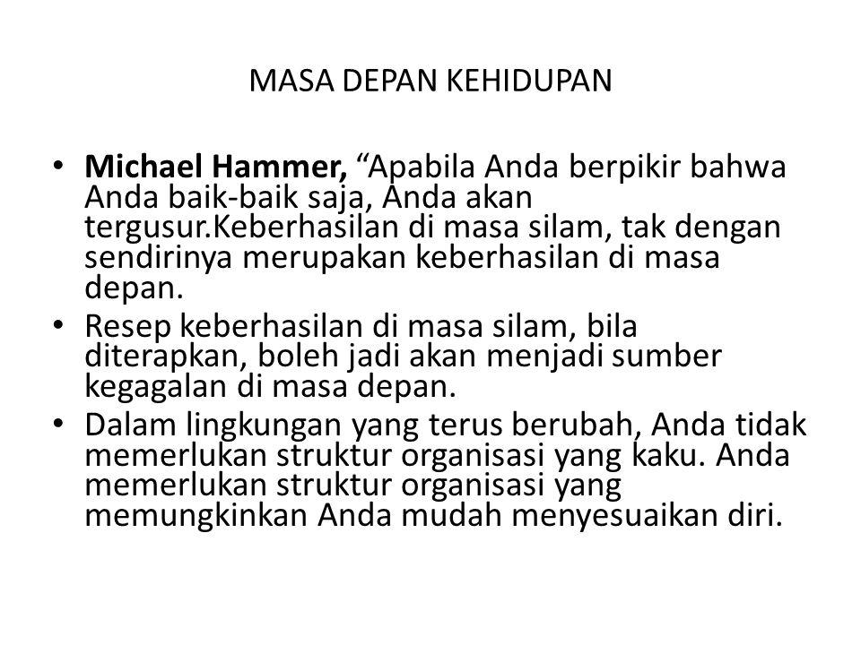 """MASA DEPAN KEHIDUPAN Michael Hammer, """"Apabila Anda berpikir bahwa Anda baik-baik saja, Anda akan tergusur.Keberhasilan di masa silam, tak dengan sendi"""