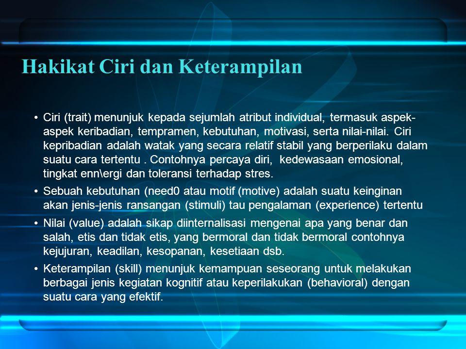 Ciri (trait) menunjuk kepada sejumlah atribut individual, termasuk aspek- aspek keribadian, tempramen, kebutuhan, motivasi, serta nilai-nilai.