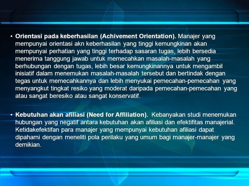 Orientasi pada keberhasilan (Achivement Orientation).