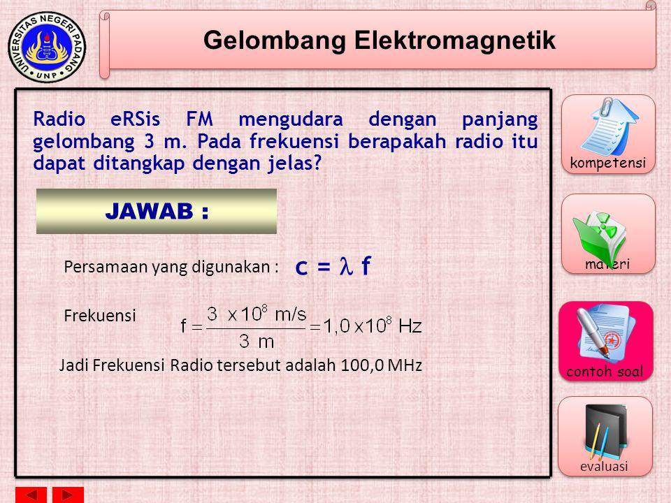 Gelombang Elektromagnetik Panjang Gelombang dan Frekuensi c = f c = cepat rambat gelombang elektromagnetik = 3 x 10 8 m/s = panjang gelombang (m) f =
