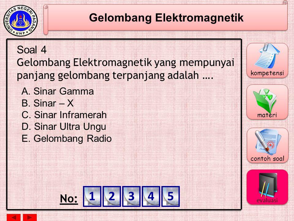 Gelombang Elektromagnetik Soal 3 Gelombang elektromagnetik tidak dapat dipengaruhi oleh medan listrik ataupun medan magnetik, hal ini karena gelombang