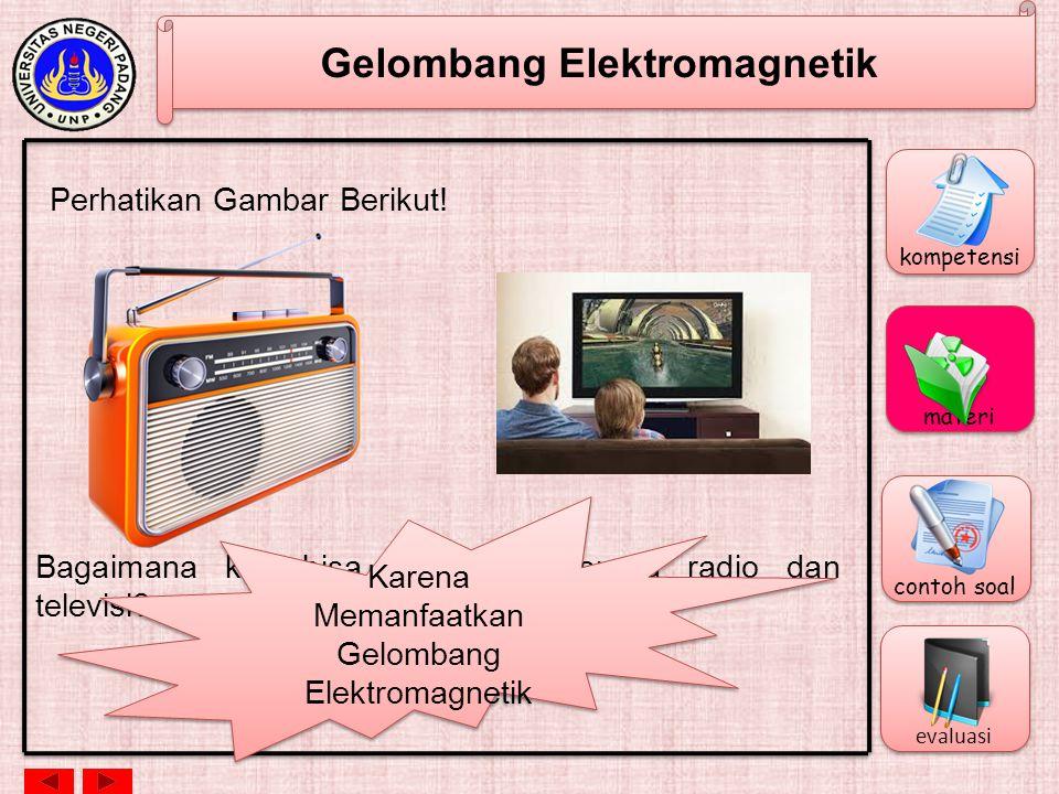 Gelombang Elektromagnetik Panjang Gelombang dan Frekuensi c = f c = cepat rambat gelombang elektromagnetik = 3 x 10 8 m/s = panjang gelombang (m) f = frekwensi (Hz) kompetensi materi contoh soal evaluasi