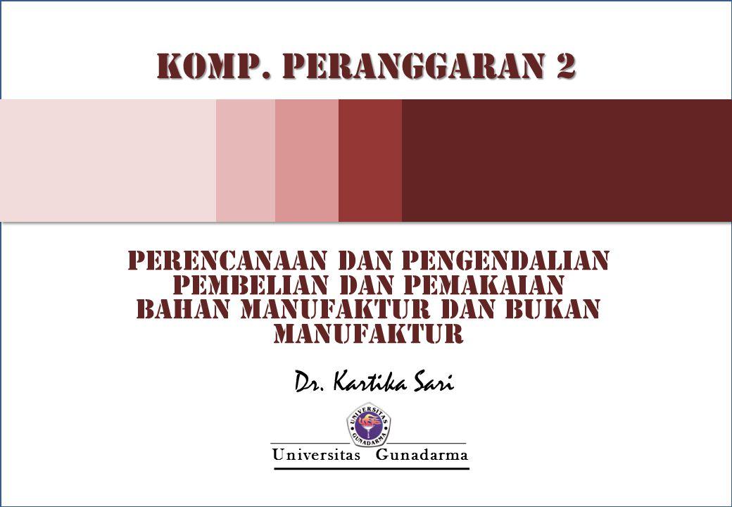 Materi 1 - 1 Kartika S - UG Universitas Gunadarma KOMP. PERANGGARAN 2 PERENCANAAN DAN PENGENDALIAN PEMBELIAN DAN PEMAKAIAN BAHAN MANUFAKTUR DAN BUKAN