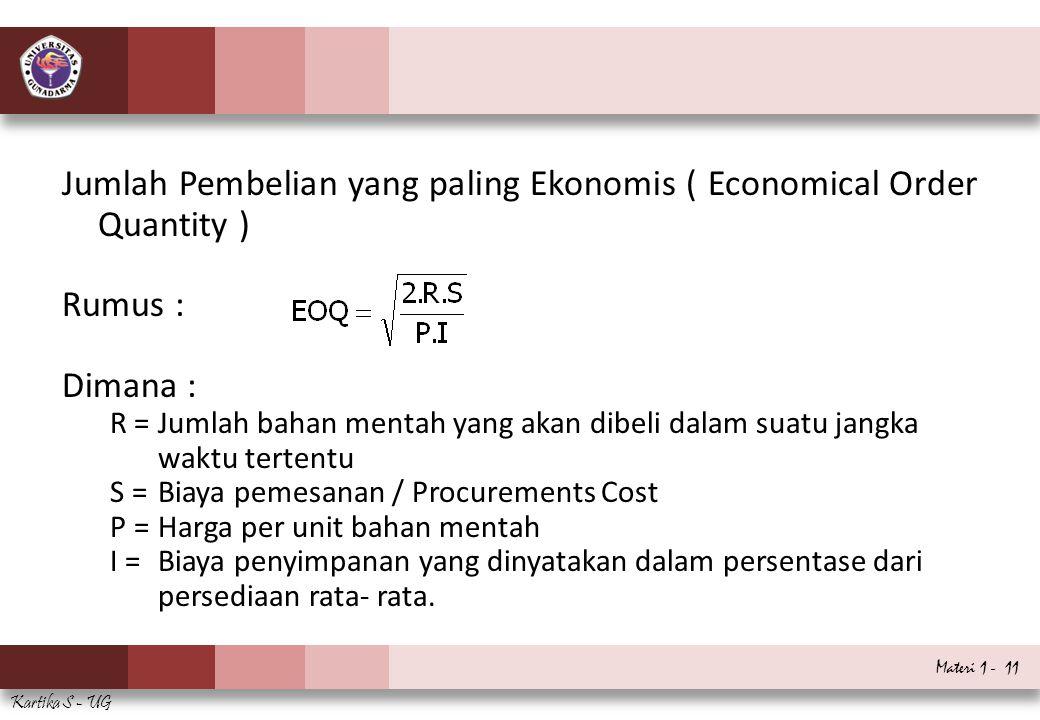 Materi 1 - 11 Kartika S - UG Jumlah Pembelian yang paling Ekonomis ( Economical Order Quantity ) Rumus : Dimana : R =Jumlah bahan mentah yang akan dib