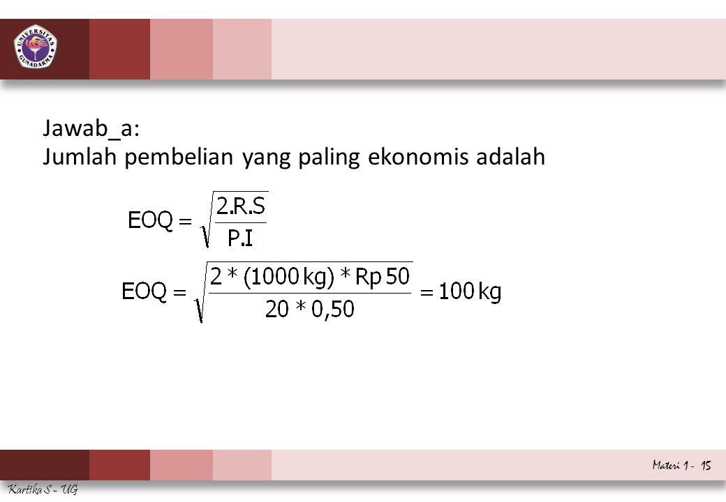 Materi 1 - 15 Kartika S - UG Jawab_a: Jumlah pembelian yang paling ekonomis adalah