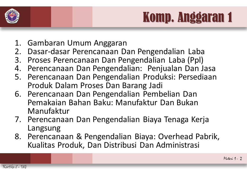 Materi 1 - 2 Kartika S - UG Komp. Anggaran 1 1.Gambaran Umum Anggaran 2.Dasar-dasar Perencanaan Dan Pengendalian Laba 3.Proses Perencanaan Dan Pengend