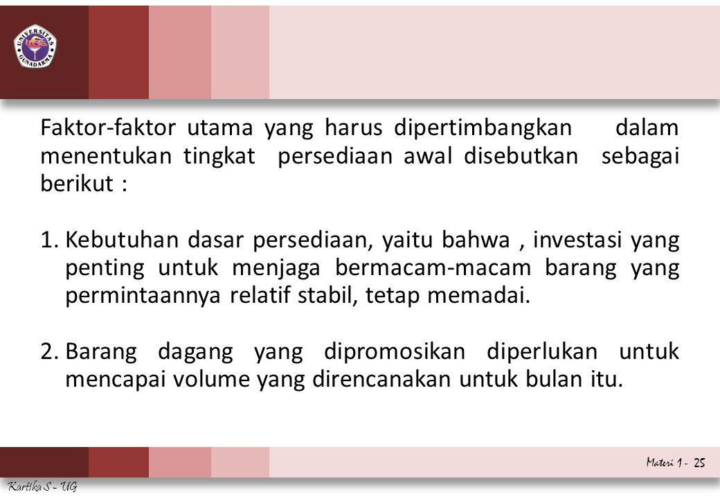 Materi 1 - 25 Kartika S - UG Faktor-faktor utama yang harus dipertimbangkan dalam menentukan tingkat persediaan awal disebutkan sebagai berikut : 1.Ke