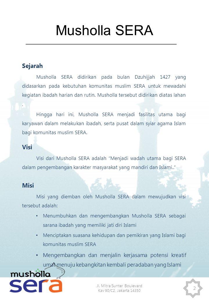 Jl. Mitra Sunter Boulevard Kav 90/C2, Jakarta 14350 2 Musholla SERA Sejarah Musholla SERA didirikan pada bulan Dzuhijjah 1427 yang didasarkan pada keb