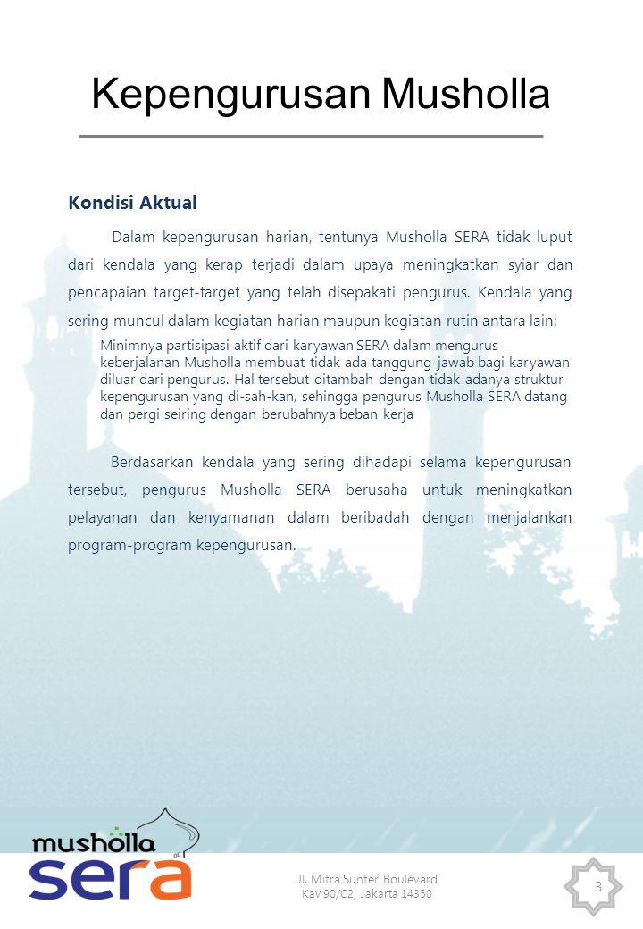 Jl. Mitra Sunter Boulevard Kav 90/C2, Jakarta 14350 3 Kepengurusan Musholla Kondisi Aktual Dalam kepengurusan harian, tentunya Musholla SERA tidak lup