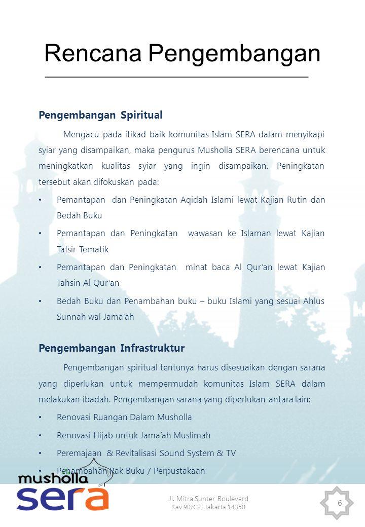 Jl. Mitra Sunter Boulevard Kav 90/C2, Jakarta 14350 6 Rencana Pengembangan Pengembangan Spiritual Mengacu pada itikad baik komunitas Islam SERA dalam