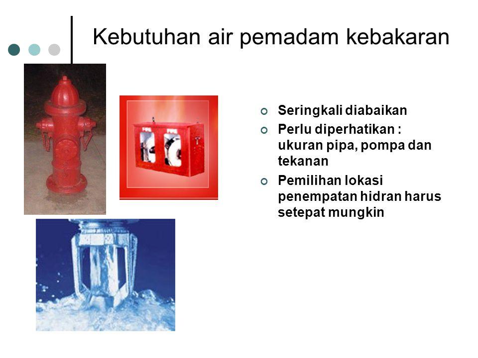 Kebutuhan air pemadam kebakaran Seringkali diabaikan Perlu diperhatikan : ukuran pipa, pompa dan tekanan Pemilihan lokasi penempatan hidran harus setepat mungkin