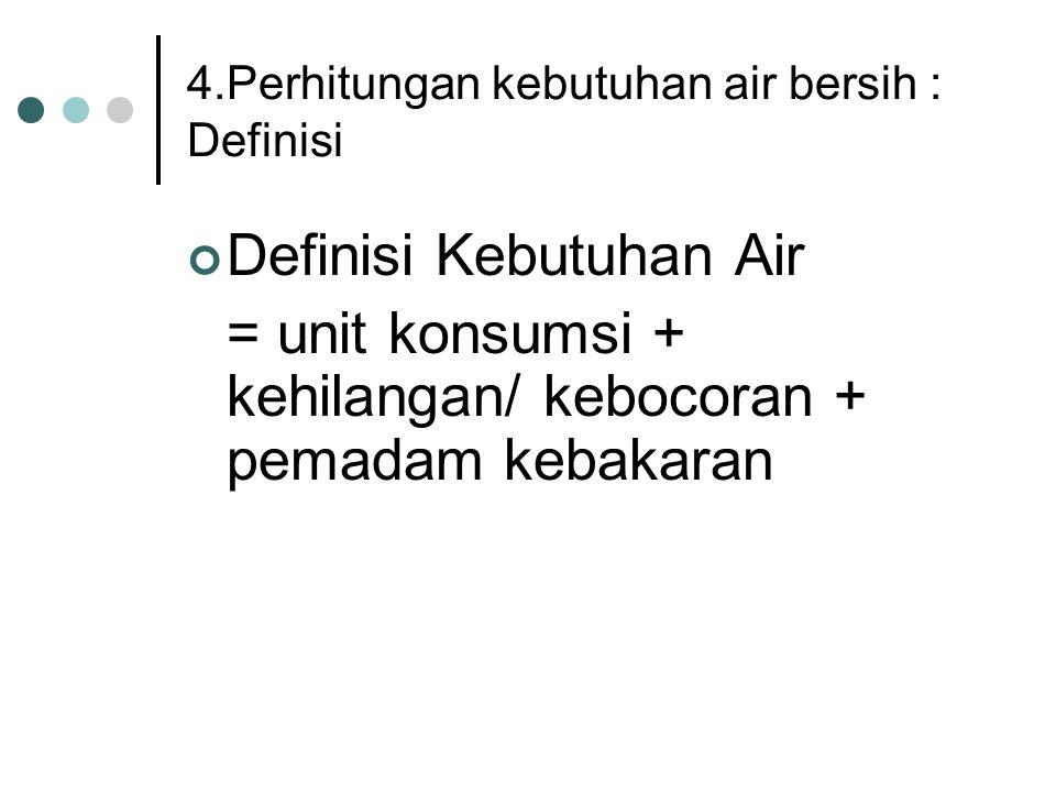 4.Perhitungan kebutuhan air bersih : Definisi Definisi Kebutuhan Air = unit konsumsi + kehilangan/ kebocoran + pemadam kebakaran