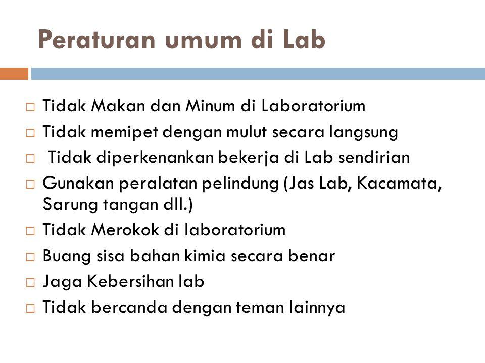 Peraturan umum di Lab  Tidak Makan dan Minum di Laboratorium  Tidak memipet dengan mulut secara langsung  Tidak diperkenankan bekerja di Lab sendir