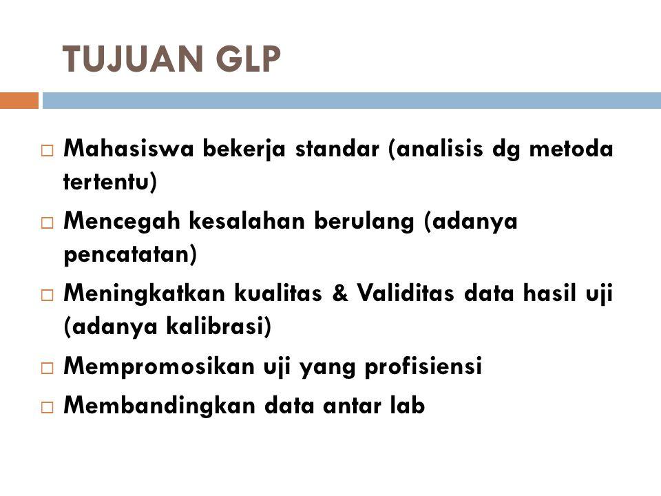 TUJUAN GLP  Mahasiswa bekerja standar (analisis dg metoda tertentu)  Mencegah kesalahan berulang (adanya pencatatan)  Meningkatkan kualitas & Valid