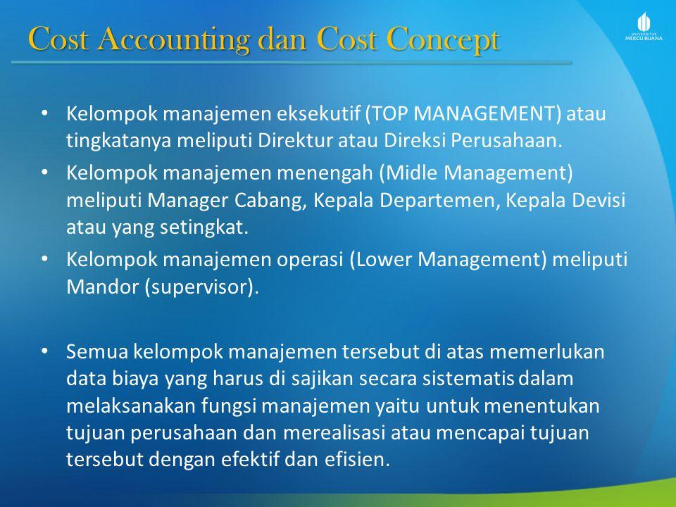 Cost Accounting dan Cost Concept Cost Accounting dan Cost Concept Kelompok manajemen eksekutif (TOP MANAGEMENT) atau tingkatanya meliputi Direktur ata