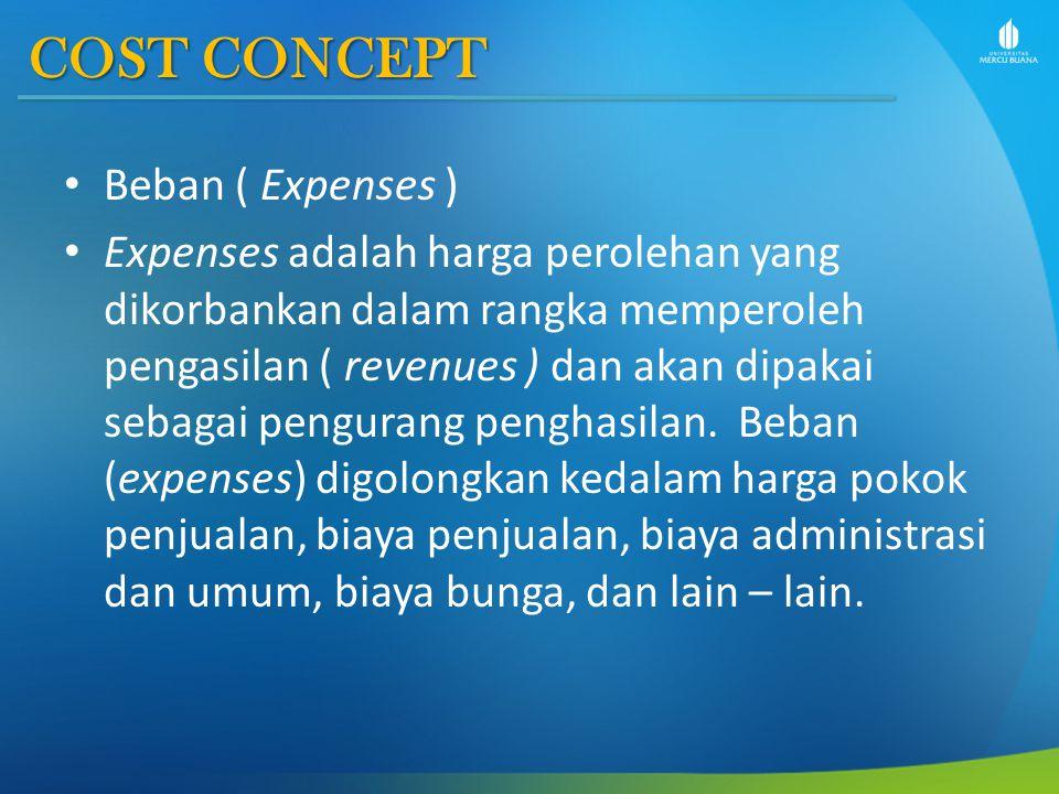 COST CONCEPT Beban ( Expenses ) Expenses adalah harga perolehan yang dikorbankan dalam rangka memperoleh pengasilan ( revenues ) dan akan dipakai seba