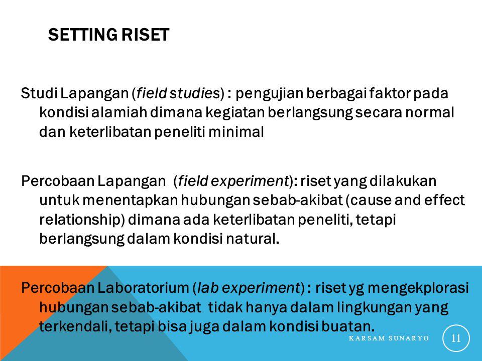 SETTING RISET Studi Lapangan (field studies) : pengujian berbagai faktor pada kondisi alamiah dimana kegiatan berlangsung secara normal dan keterlibat