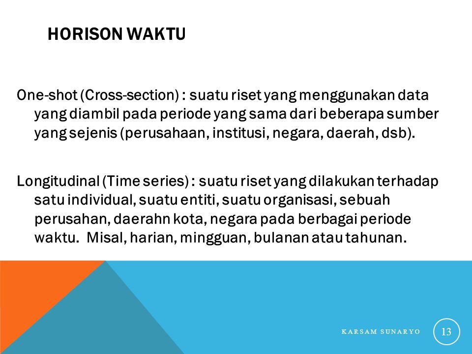 HORISON WAKTU One-shot (Cross-section) : suatu riset yang menggunakan data yang diambil pada periode yang sama dari beberapa sumber yang sejenis (peru