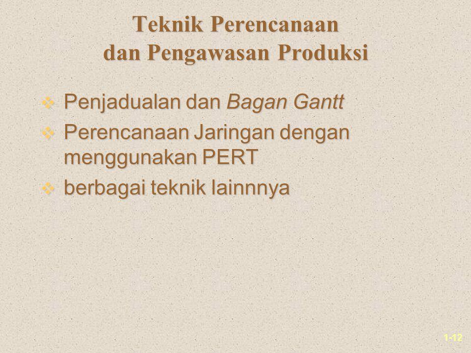 1-12 Teknik Perencanaan dan Pengawasan Produksi v Penjadualan dan Bagan Gantt v Perencanaan Jaringan dengan menggunakan PERT v berbagai teknik lainnnya