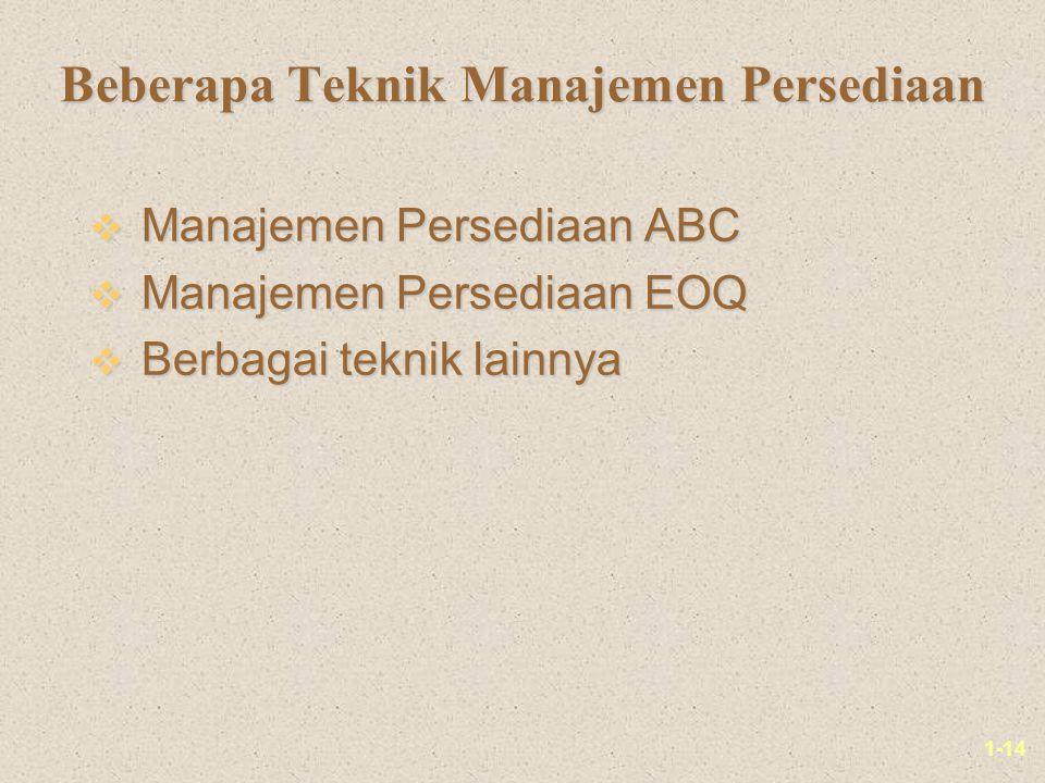 1-14 Beberapa Teknik Manajemen Persediaan v Manajemen Persediaan ABC v Manajemen Persediaan EOQ v Berbagai teknik lainnya