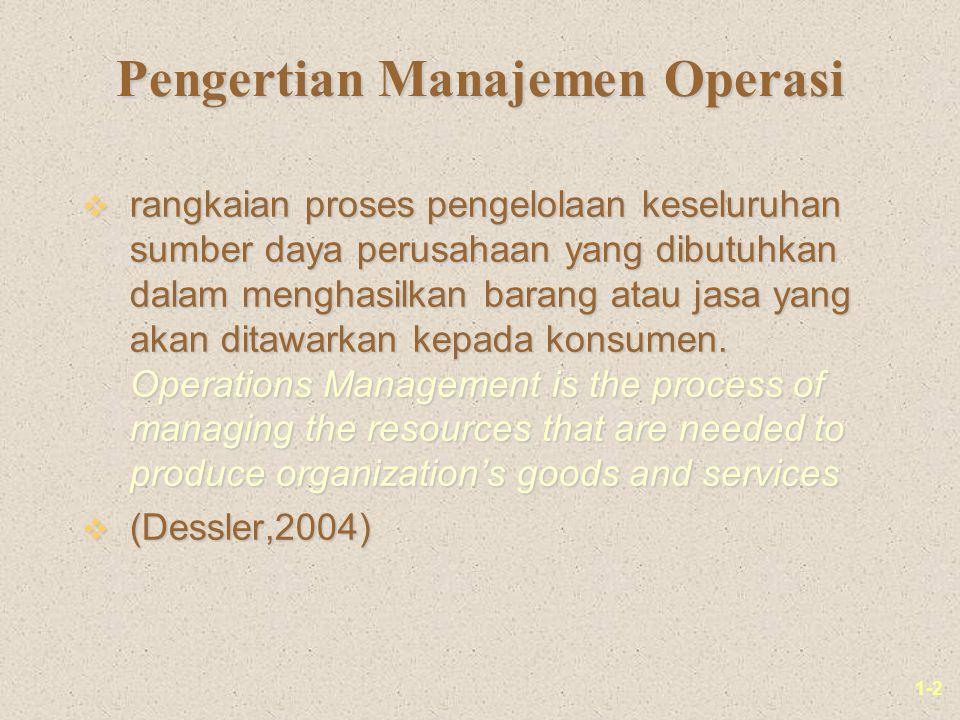 1-2 Pengertian Manajemen Operasi v rangkaian proses pengelolaan keseluruhan sumber daya perusahaan yang dibutuhkan dalam menghasilkan barang atau jasa yang akan ditawarkan kepada konsumen.