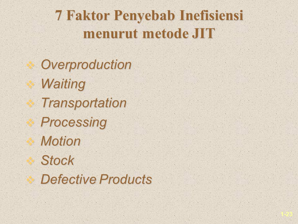 1-23 7 Faktor Penyebab Inefisiensi menurut metode JIT v Overproduction v Waiting v Transportation v Processing v Motion v Stock v Defective Products